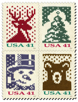 Holiday knitting stamps, for 2007