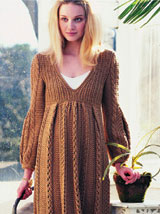 Lovely 60s-hippie brown knit dress.