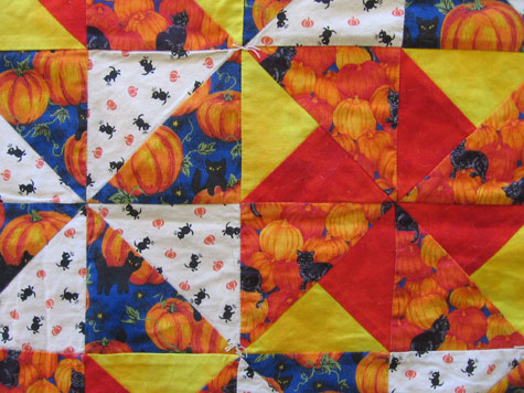 The Halloween quilt, fabric close-up