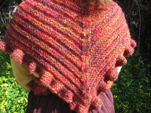 The ruffles and ridges shawl, back view