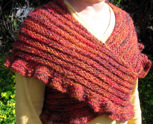 The ruffles and ridges shawl, front view
