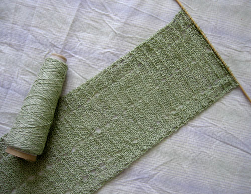 Lacy green scarf in progress