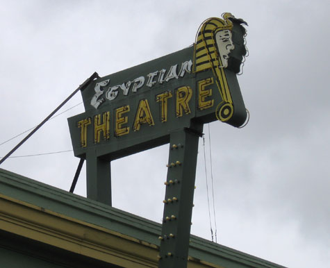 Detail of the Egyptian Theater sign