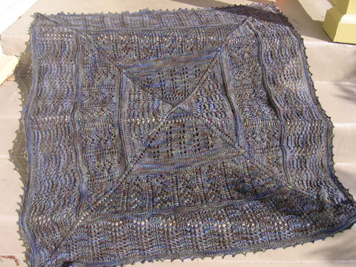 Bloofer shawl, spread out on the steps