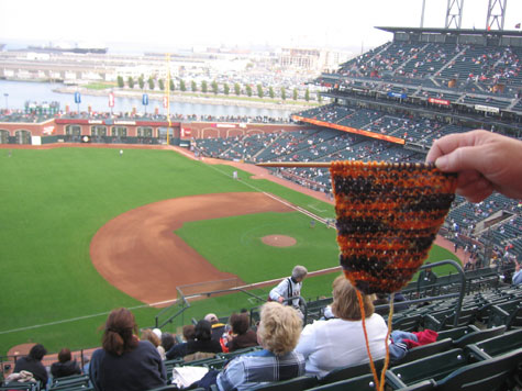 A scarf in progress at the ball park