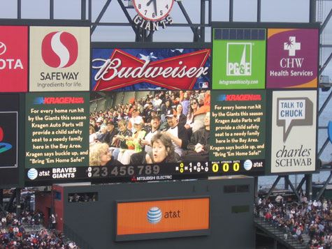 Knitting contest on the Jumbotron