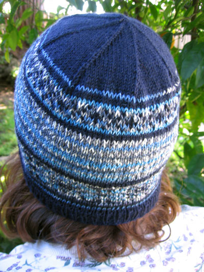 Blue hat, strands and bands