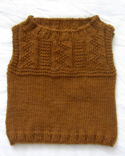 Brown cable childs vest