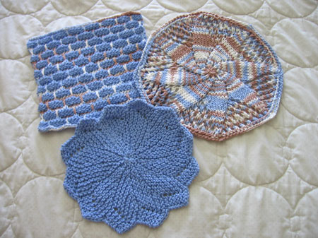 Lovely blue washcloths.